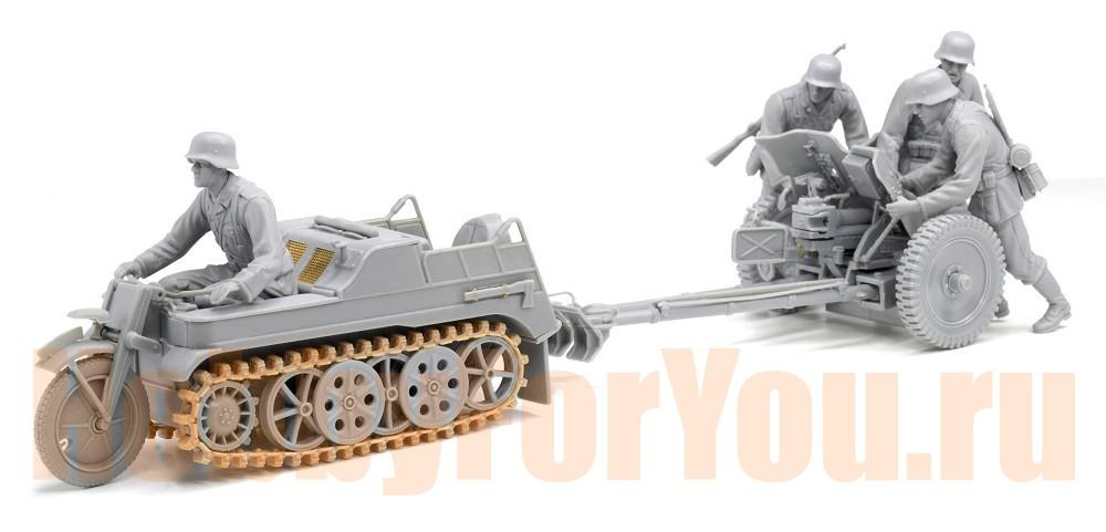 Dragon 6446 1/35 Sd.Kfz.2 Kettenkrad Late Production e 3.7cm PAK 36 w/Crew Военная автомобильная техника.